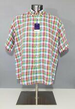 Alan Flusser Multicolor Linen Check Short Sleeve Button Down Shirt Sz XL NEW