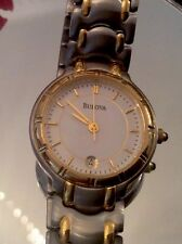 """NEW LADIES BULOVA"" TWO/tone GOLD&S.S. CALENDAR WATCH WATER RESISTANT.RET$325.00"