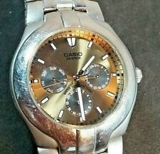 CASIO EDIFICE WR100 STAINLESS STEEL GOLD TONE DIAL MEN'S WATCH 1343 MODULE EF104