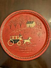 """Vintage Painted Red Horse Carriage Coming Home Metal Tray 16"""" Round Mid Century"""