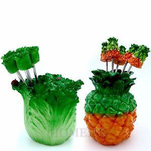 PineApple Cabbage Vegatable Fruit Fork handmade home decor Resin Art Collectible