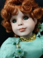 "VINTAGE PORCELAIN DOLL RED HAIR MINT GREEN DRESS W GOLD TRIM 14"" TALL BARE FEET"