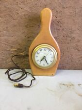 Vintage Mid Century Modern United Wood Bowling Pin Wall Hanging Clock