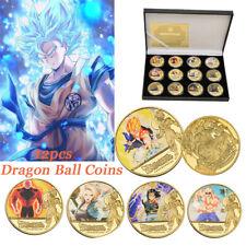 12X Gold Dragon Ball Z Son Goku Vegeta Frieza Commemorative Coin In Gift Box