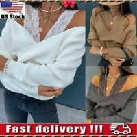 USA Womens Long Sleeve Sweater Pullovers Jumper Ladies Loose Tops Knit Blouse