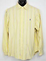 Polo Ralph Lauren Men's Size XL Yellow-Blue Stripe L/S Button Down Shirt EUC