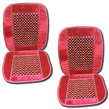 Universal Natural Wooden Burgundy Beaded Massage Car Seat Cushion- Set of 2