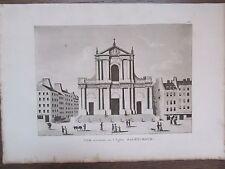 GRAVURE 1839 PARIS EGLISE SAINT ROCH VUE EXTÉRIEURE