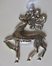 Ed Wishing you blessings of health joy Merry Reindeer Christmas Ornament Ganz