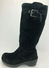 f4d0d01f6d0b Crocs Cobbler Boots Buckle Strap Black Suede Knee High Platform Shoes Womens  11