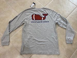 Vineyard Vines Football Whale Long Sleeve Tshirt 1V010311 Large $48
