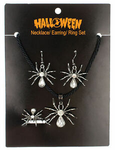 SPIDERS EARRINGS RING NECKLACE HALLOWEEN COSTUME JEWELRY SET ACCESSORY ALH15223