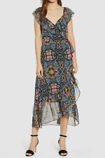 $456 Rebecca Minkoff Women's Blue Pink Floral Ruffle V-Neck Wrap Midi Dress M