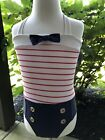 Boutique Girls Red White  Blue Sailor Band Style Swimsuit  Swim Cap NWT 5 YR