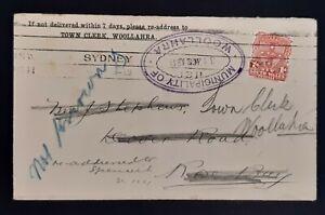 1911 MUNICIPALITY OF WOOLLAHRA 1d NSW Stamped Envelope