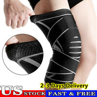 Weaving Knee Sleeve Brace Pad Support Stabilizer Sports Gym Running Joint Pain.