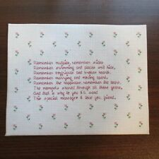 Completed Cross Stitch Needlework I Love You Friend Quote Poem Pink Green Floral