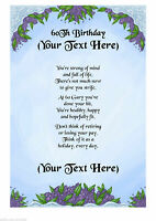 Personalised A4 / A5 60th Birthday Poem Scroll Gift Various Designs