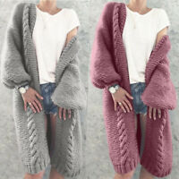 Women Cardigan Long Jumper Sweater Coat Warm Knitted Chunky Sleeve Winter Autumn