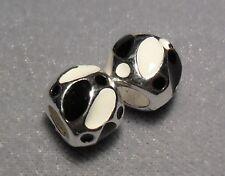 2 x'BLACK & WHITE'EnamelEuropean Spacer Beads   (672)