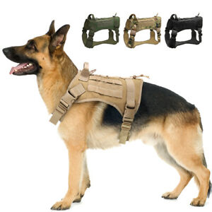 Soft Mesh K9 Dog Tactical Harness No Pull Molle Military Training Vest Camo M-XL