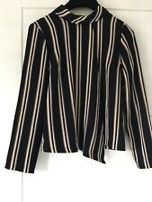 Topshop Navy Ornage & White Stripe Textured Long Sleeve Blouse Top Sz 6