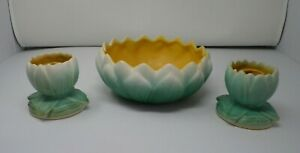 Weller Ware Pumila Lily Pad Console Bowl and Candlesticks Set 1920's Pottery