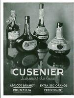Publicité ancienne Cusenier liqueurs de luxe 1937 issue de magazine