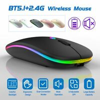 Ultra-Thin 2.4G + Bluetooth 5.1 Dual Mode Backlit Mouse Mice For PC Laptop Win10