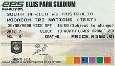 Australia del Sud Africa V 30 AGOSTO 2008 Ellis Park, Johannesburg Ticket Rugby