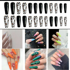 24 Pcs Full Cover False Nail Tips Ballerina Long Coffin Fake Nails Art Manicure
