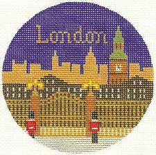 "Needlepoint Handpainted LEE Canvas LONDON Christmas Ornament 4.25"" Silver Needle"