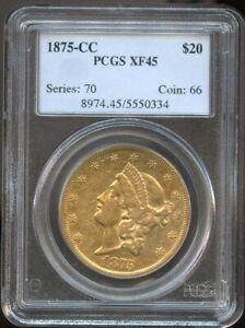 1875 CC $20 Liberty Gold Double Eagle XF 45 PCGS, Rare CC Gold, Nice Deatil!