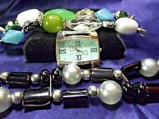 Woman's Geneva Watch with 2 Beaded Bands **Black & Multi**Vintage** B77-B080