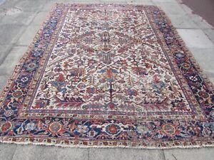Antique Worn Traditional Hand Made Vintage Oriental Wool White Carpet 310x232cm