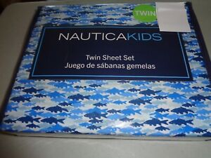 new Nautica Kids 3-pc TWIN Sheet set FISH  - blue