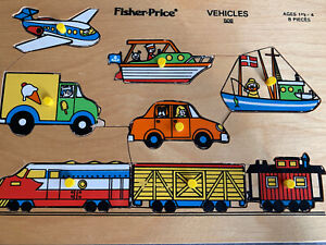 Vintage Fisher Price Wooden  Puzzle Vehicles #508 8 piece
