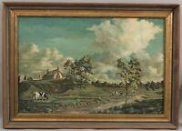 Original Artist Signed Country Farm & Cow Landscape O/C Oil Painting, No Reserve