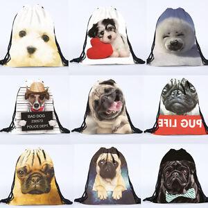 Unisex Pug Dog Animal 3D Printing Bags Drawstring Backpack Beach Sport Xmas Gift