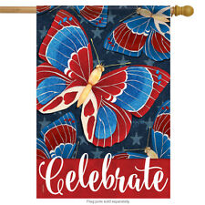 """Americana Butterflies Patriotic House Flag Celebrate Double Sided 28"""" x 40"""""""
