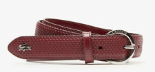 Lacoste Women Engraved Round-Buckle Texturized Leather Belt TAWNY PORT Small 36
