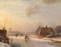 Nice Oil painting Ancient rural landscape in winter sunset canvas