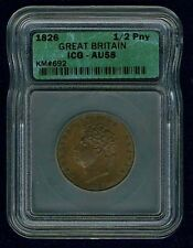 G.B./ENGLAND GEORGE IV 1826 HALF PENNY ALMOST UNCIRCULATED CERTIFIED ICG AU58