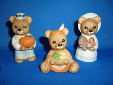 "Thanksgiving 3 Pc Bears Pilgrims and orig. #5312 American 2 5/8"" Homc0"