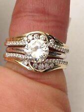 14k Yellow Gold Solitaire Enhancer Round Diamonds Ring Guard Wrap Wedding Band