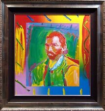 Peter Max VAN GOGH Acrylic over Lithograph on canvas, Signed  Custom Frame