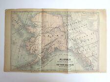 Original Antique 1899 Atlas Map Of Alaska & The Yukon Gold Fields/Cuba, Oversize