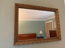 """Large Heavy GOLD Tone Framed WALL MIRROR Ornate Frame Embossed 32"""" x 24"""" Mantle"""
