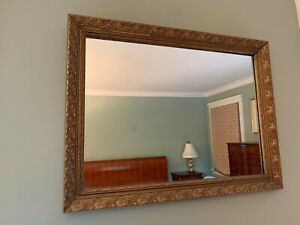 "Large Heavy GOLD Tone Framed WALL MIRROR Ornate Frame Embossed 32"" x 24"" Mantle"