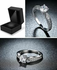18ct White Gold Plated, 12 Multi Accent Diamond Stones Engagement Ring